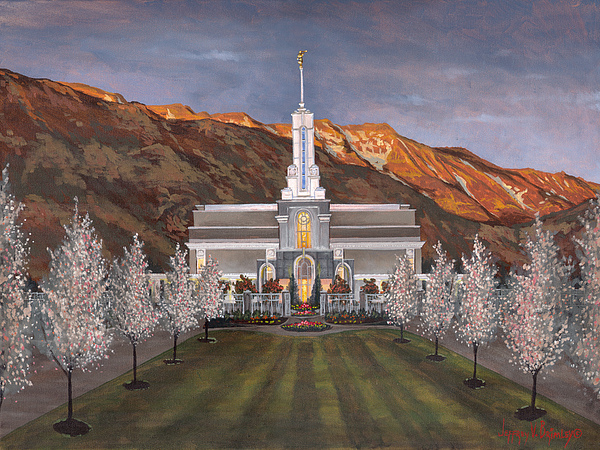 Temple Painting - Mount Timpanogos Temple by Jeff Brimley