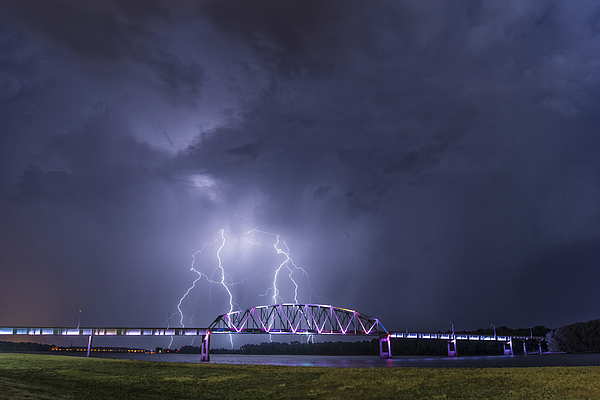 Photograph - Muscatine Bridge Lightning by Paul Brooks