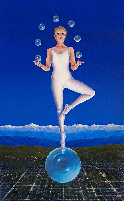 Muse Dawn Ballet Ballerina Bubble Bubbles Juggle Juggling Girl Woman Dance Dancer Fantasy Inspiration Inspirational  Painting - Muse Of Dawn by Laurie Stewart