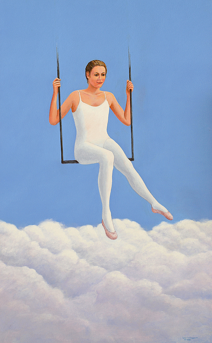 Muse Midday Ballet Ballerina Swing Trapeze Sky Cloud Clouds Girl Woman Fantasy Inspiration Inspirational  Painting - Muse Of Midday by Laurie Stewart
