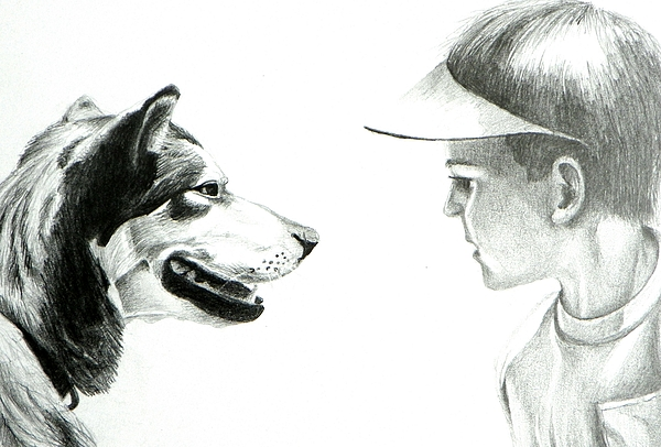 Dogs Drawing - My Best Friend  by David Ackerson