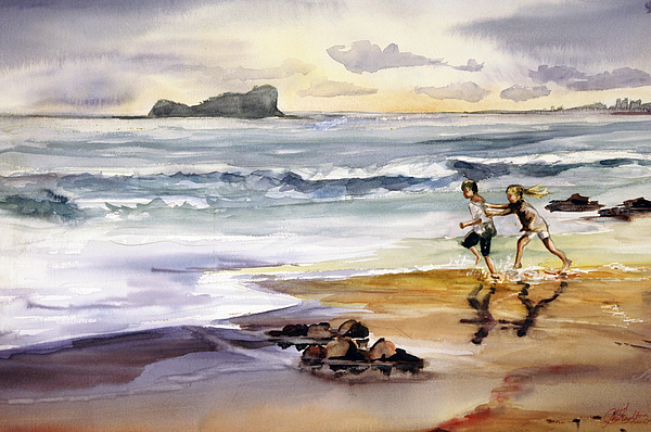 Beach Painting - My Kids On The Beach by Shirley Roma Charlton