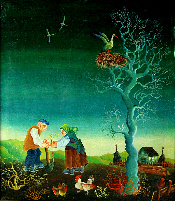 Garden Gardener Gardening Green Living Growing Growth Couple Husband Illustration Illustration And Painting Kneeling Man Mature Adult Mature Couple Nature Nurturing Outdoors People Planting Sustainability Together Tree Two People Watering Watering Can Wife Woman Working Together Accountable Bending Caring Conservation Couple Cultivation  Female  Grow Male Nurture Obligation Outside Person Pleasure Proud Spouse Togetherness Two Western European Old Village Country Chicken Birds Decorative Naive  Painting - My Old Village  by Leon Zernitsky