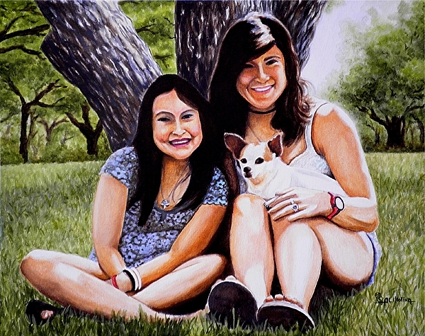 Portrait Painting - My Three Children by Al  Molina
