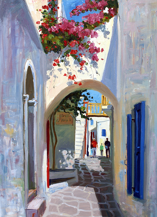 Archway Painting - Mykonos Archway by Roelof Rossouw