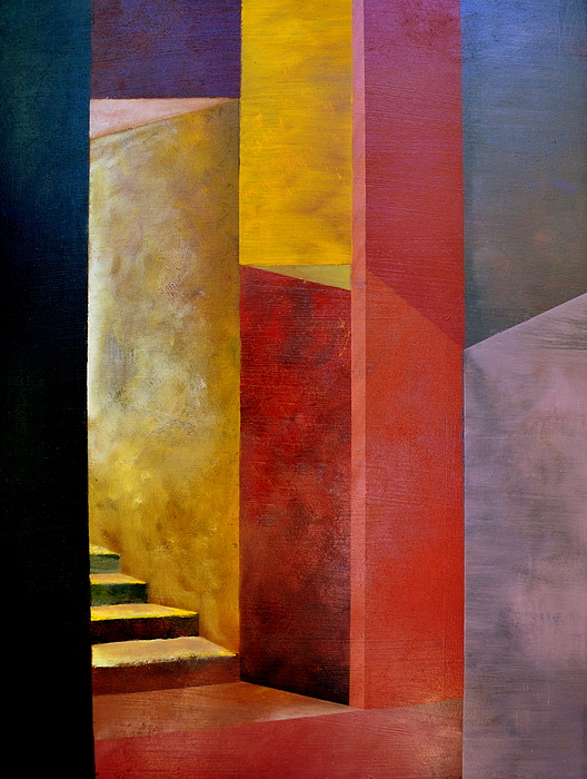 Gold Painting - Mystery Stairway by Michelle Calkins