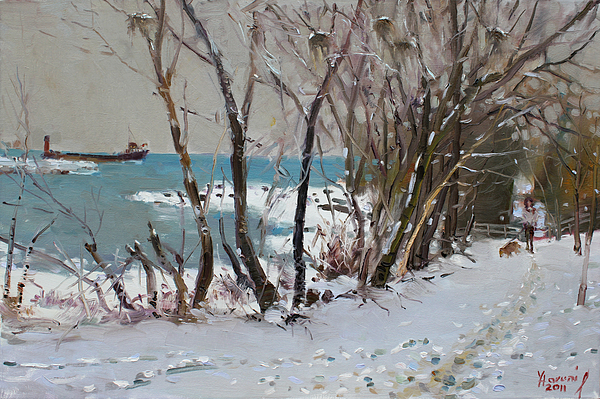 Lake Shore Mississauga Painting - Naked Trees By The Lake Shore by Ylli Haruni