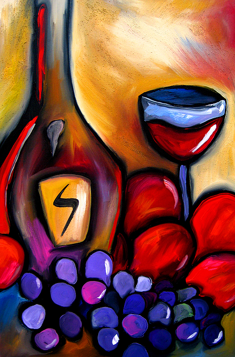 Pop Art Painting - Napa Mix - Abstract Wine Art By Fidostudio by Tom Fedro - Fidostudio