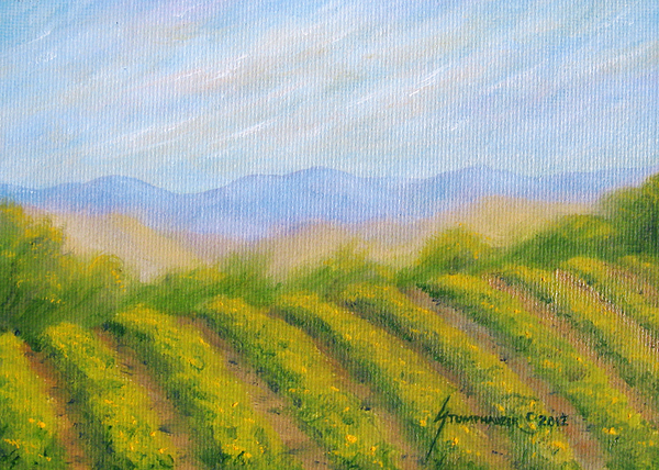 Napa Valley Painting - Napa Valley Vineyard by Jerome Stumphauzer