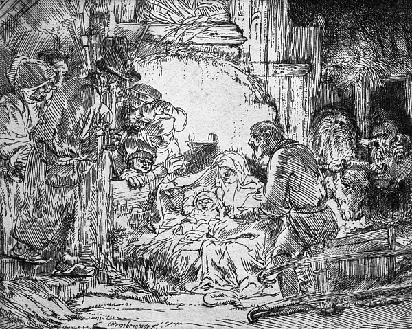 Adoration Of The Shepherds; Shepherd; Infant Jesus Christ; Baby; Child; Joseph; Virgin Mary; Madonna; Holy Family; Stable; Manger; Ox; Oxen; Straw Drawing - Nativity by Rembrandt