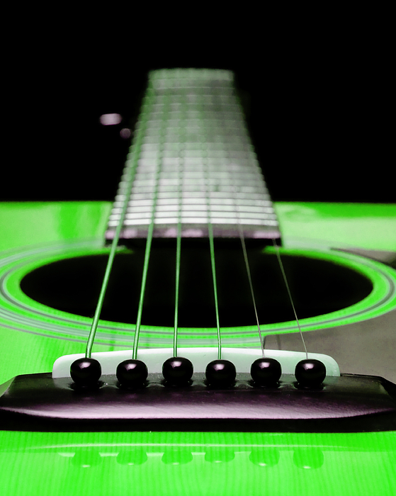 Andee Design Guitar Photograph - Neon Green Guitar 18 by Andee Design
