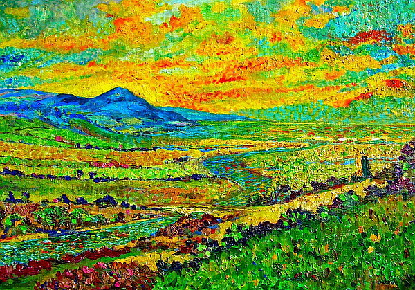 Sunset Painting - New Mexican Sunset by Michael Durst