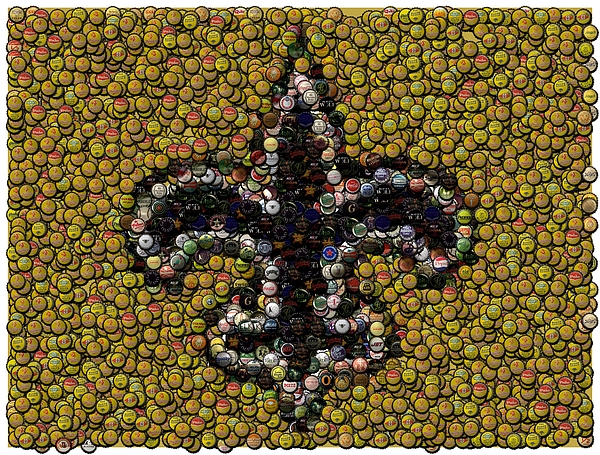 No Digital Art - New Orleans Saints  Bottle Cap Mosaic by Paul Van Scott