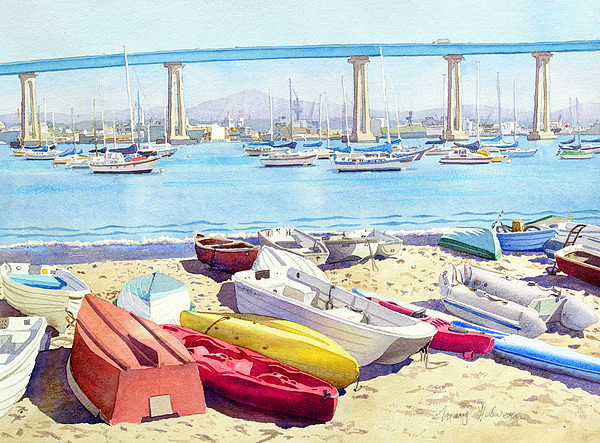 Landscape Painting - New Tidelands Park Coronado by Mary Helmreich