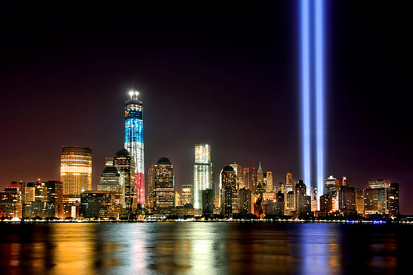 New York City Skyline At Night Photograph - New York City Skyline Tribute In Lights And Lower Manhattan At Night Nyc by Jon Holiday