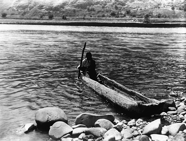1910s Photograph - Nez Percé Canoe. Nez Percé Man by Everett