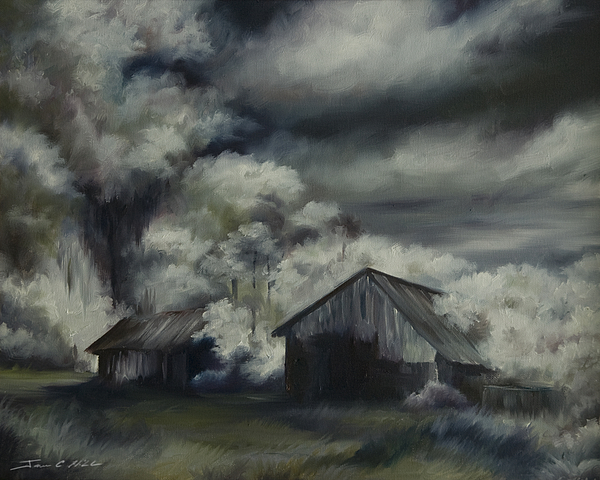 Motel; Route 66; Desert; Abandoned; Delapidated; Lost; Highway; Route 66; Road; Vacancy; Run-down; Building; Old Signage; Nastalgia; Vintage; James Christopher Hill; Jameshillgallery.com; Foliage; Sky; Realism; Oils; Barn Painting - Night Barn by James Christopher Hill