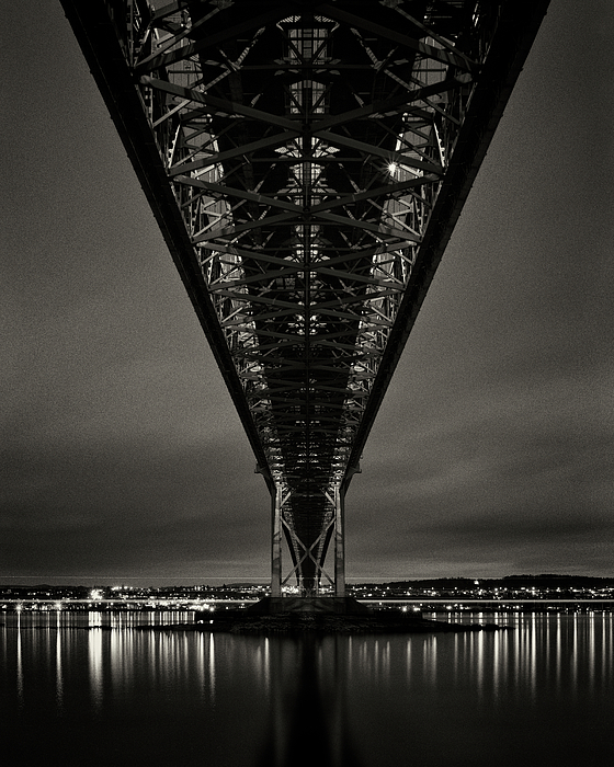 Vertical Photograph - Night View Of Forth Road Bridge by Mark Voce Photography
