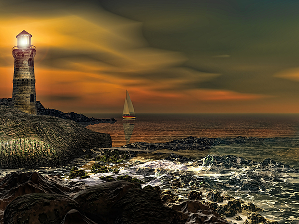 Lighthouse Photograph - Nocturnal Tranquility by Lourry Legarde