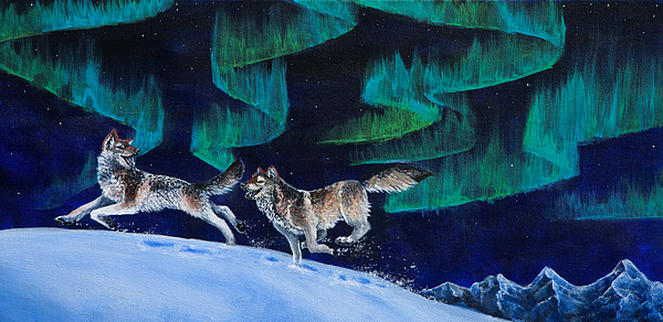 Wolf Painting - Northern Love Story by Beth Davies