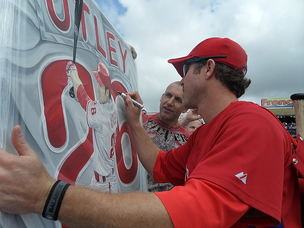 Now Sold  Utley Signing The Original  Painting