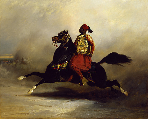 Nubian Painting - Nubian Horseman At The Gallop by Alfred Dedreux or de Dreux