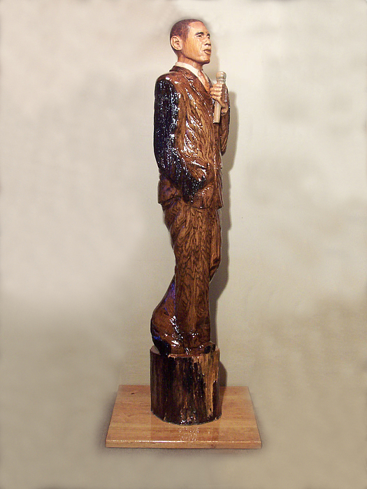 President Sculpture - Obama In A Red Oak Log by Robert Crowell
