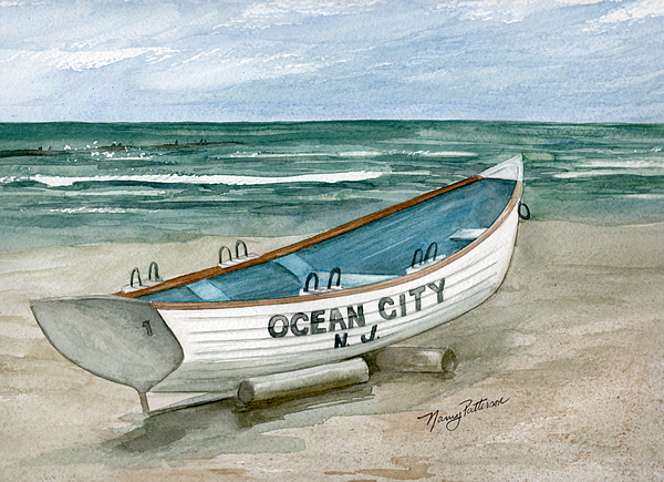 Ocean City Painting - Ocean City Lifeguard Boat by Nancy Patterson