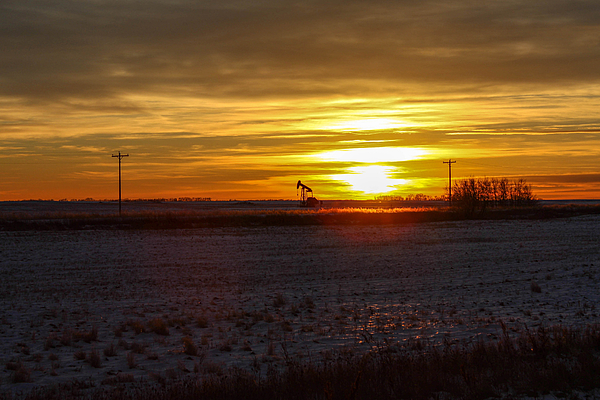 Oil Well Photograph - Oil Well Sunset by Christy Patino