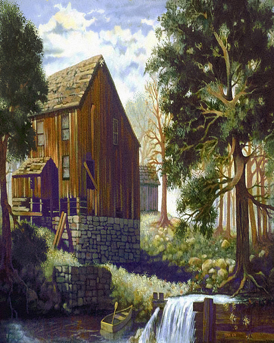 Barns Antique Buildings Farm Country Old Buildings Texas New Mexico Illinois Indiana Giclee Prints  Painting - Old Barn At Riverbend by Donn Kay