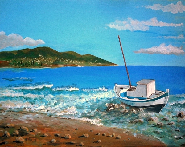Boat Painting - Old Boat At The Beah by Kostas Koutsoukanidis