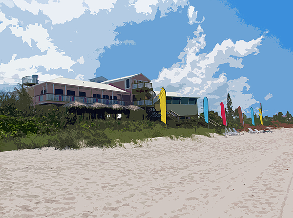 Florida Painting - Old Casino On An Atlantic Ocean Beach In Florida by Allan  Hughes