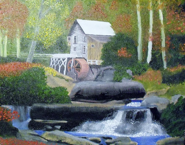 Glade Creek Painting - Old Grist Mill by John Smith