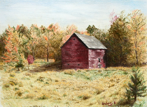 Old Barn Artworks Drawing - Old Homestead Barn by Kathy Roberts