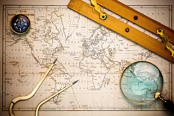 World Map Photograph - Old Map And Navigational Objects. by Richard Thomas