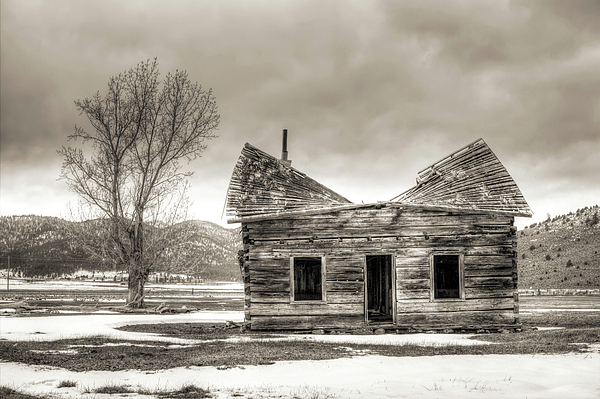Old Photograph - Old Rustic Log Cabin In The Snow by Dustin K Ryan