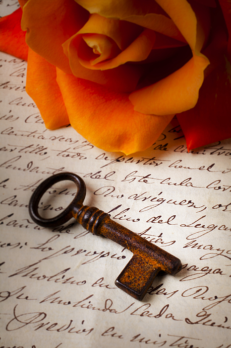 Old Photograph - Old Skeleton Key On Letter by Garry Gay