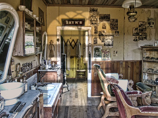 Barber Photograph - Old West Victorian Barber Shop Interior - Montana Territory by Daniel Hagerman