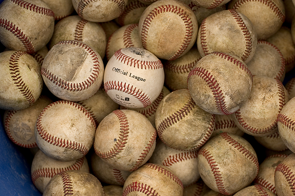 Outdoors Photograph - One Clean Baseball Sitting In A Pile by Phil Schermeister