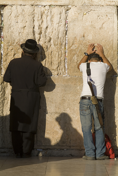 Judaism Photograph - Orthodox Jew And Soldier Pray, Western by Richard Nowitz