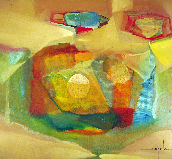 Abstract Painting - Os1959bo003 Abstract Landscape Potosi 17.75x16.5 by Alfredo Da Silva