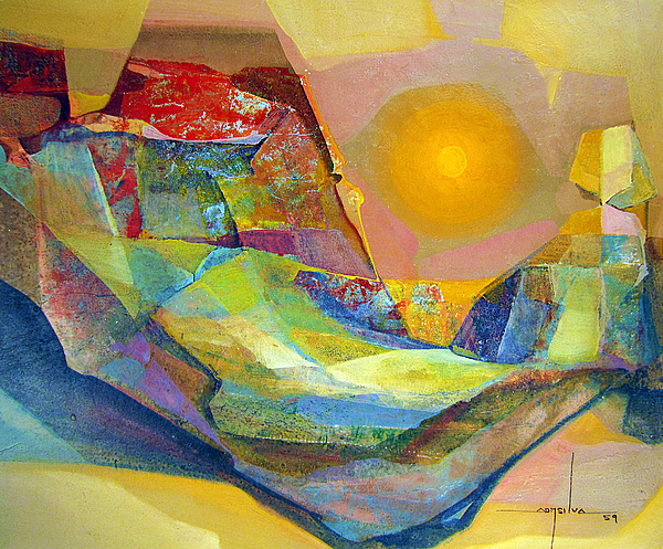 Os1959bo005 Abstract Landscape Potosi 22.75x18.5 Painting