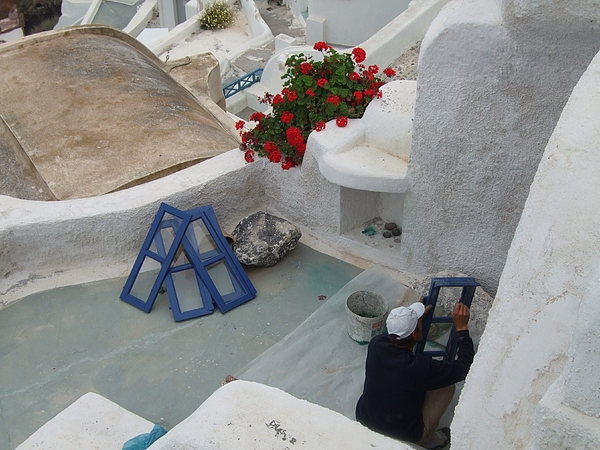 Painting Photograph - Painting Shutters In Santorini Greece by Nikki Borden