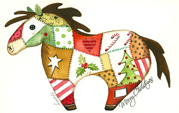 Horse Christmas Greeting Card Painting - Patchwork Christmas Horse by Stormy Logan