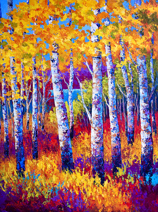 Birch Painting - Path To The Lake by Marion Rose