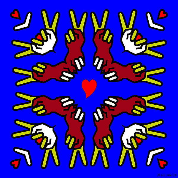 Peace Print - Peace And Love by Alexander Aristotle