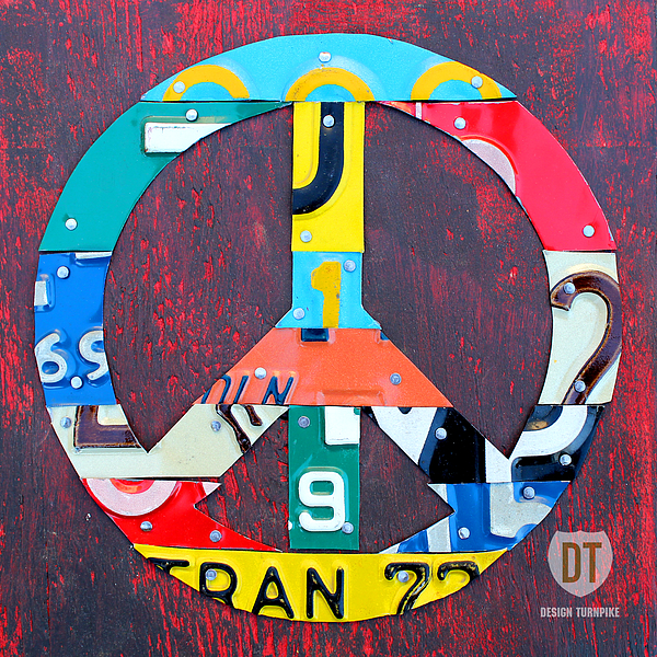 Peace License Plate Art Mixed Media