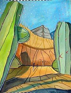 Western Stage Vibrant Color Play Backdrop Illusion 3-d Painting - Peak Moment by Charlie Spear