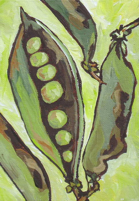 Food Painting - Peas by Sandy Tracey