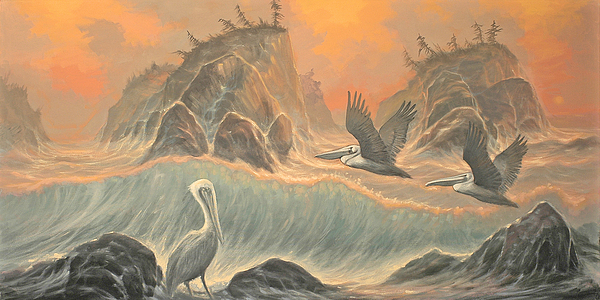 Pelicans Painting - Pelican Paradise by Marte Thompson